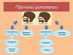 Причины ринолалии Органическая Органическая Функцио-нальная Функцио-нальная В