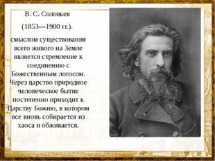 В. С. Соловьев (1853—1900 гг.). смыслом существования всего живого на Земле я