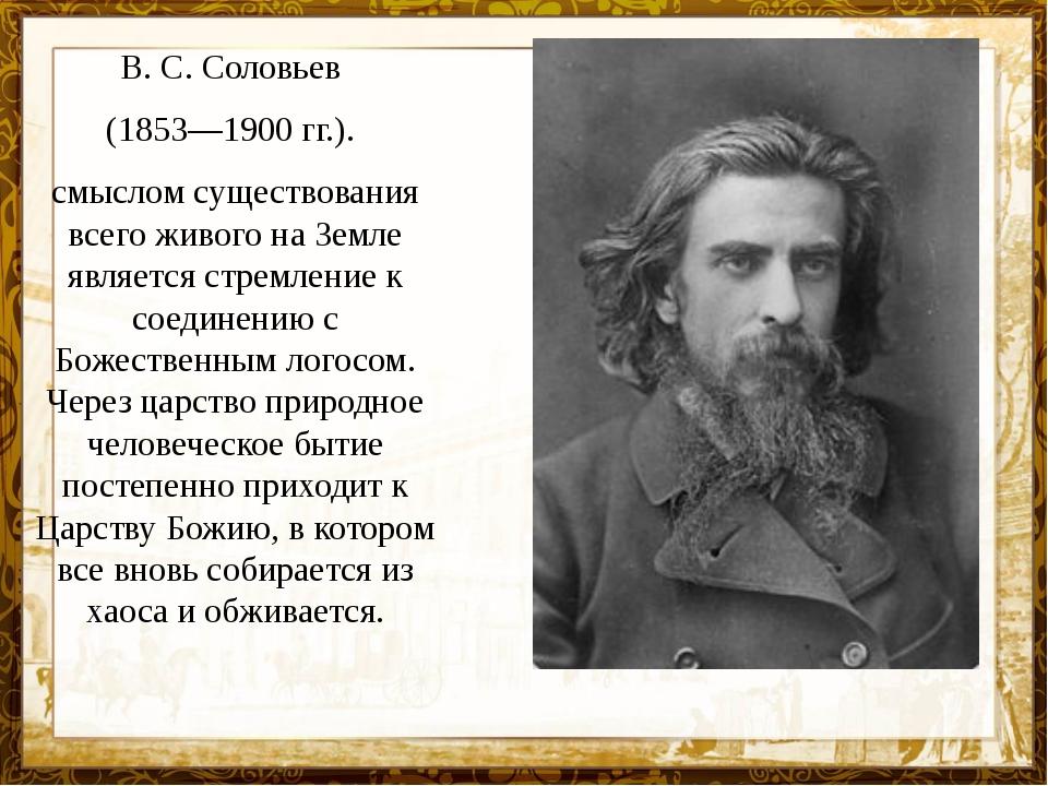 В. С. Соловьев (1853—1900 гг.). смыслом существования всего живого на Земле я...