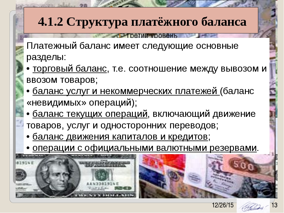 4.1.2 Структура платёжного баланса Платежный баланс имеет следующие основные...