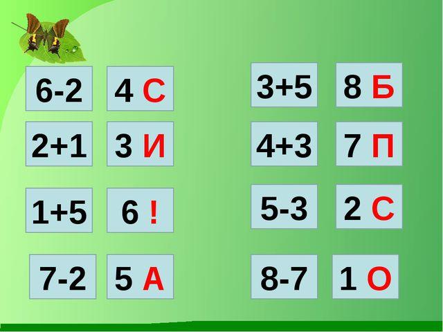 6-2 4 С 2 С 5-3 6 ! 1+5 1 О 8-7 5 А 7-2 2+1 3 И 8 Б 3+5 7 П 4+3