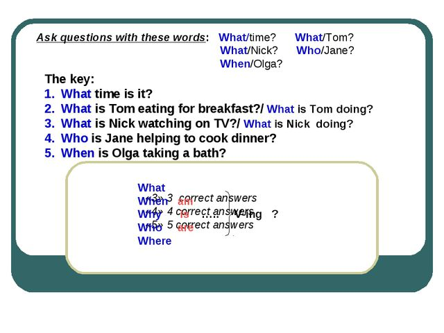 The key: What time is it? What is Tom eating for breakfast?/ What is Tom doin...
