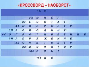 «КРОССВОРД – НАОБОРОТ» 1 О М 2 А М П Е Р 3 Р Е О С Т А Т 4 А М П Е Р М Е Т Р
