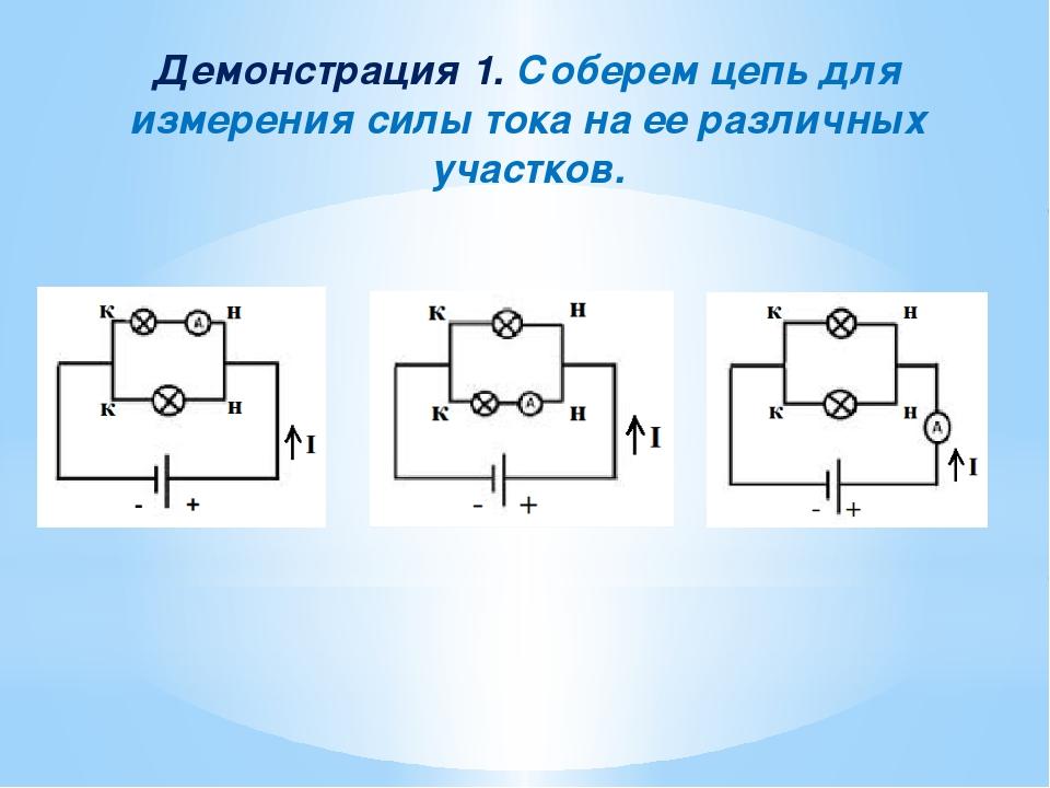Демонстрация 1. Соберем цепь для измерения силы тока на ее различных участков.