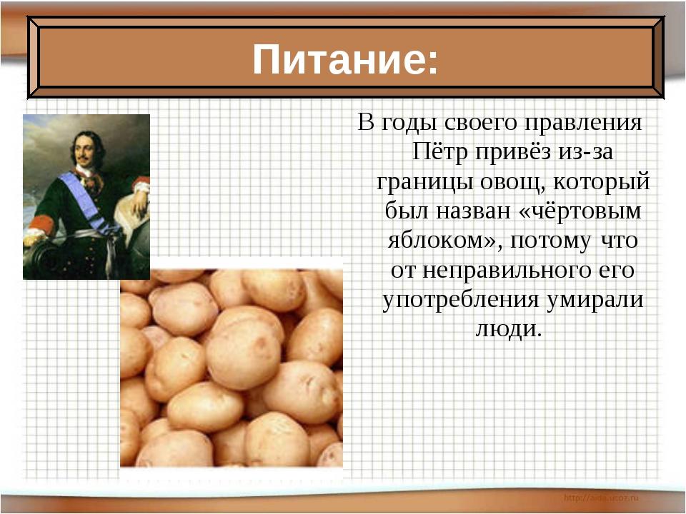 В годы своего правления Пётр привёз из-за границы овощ, который был назван «ч...