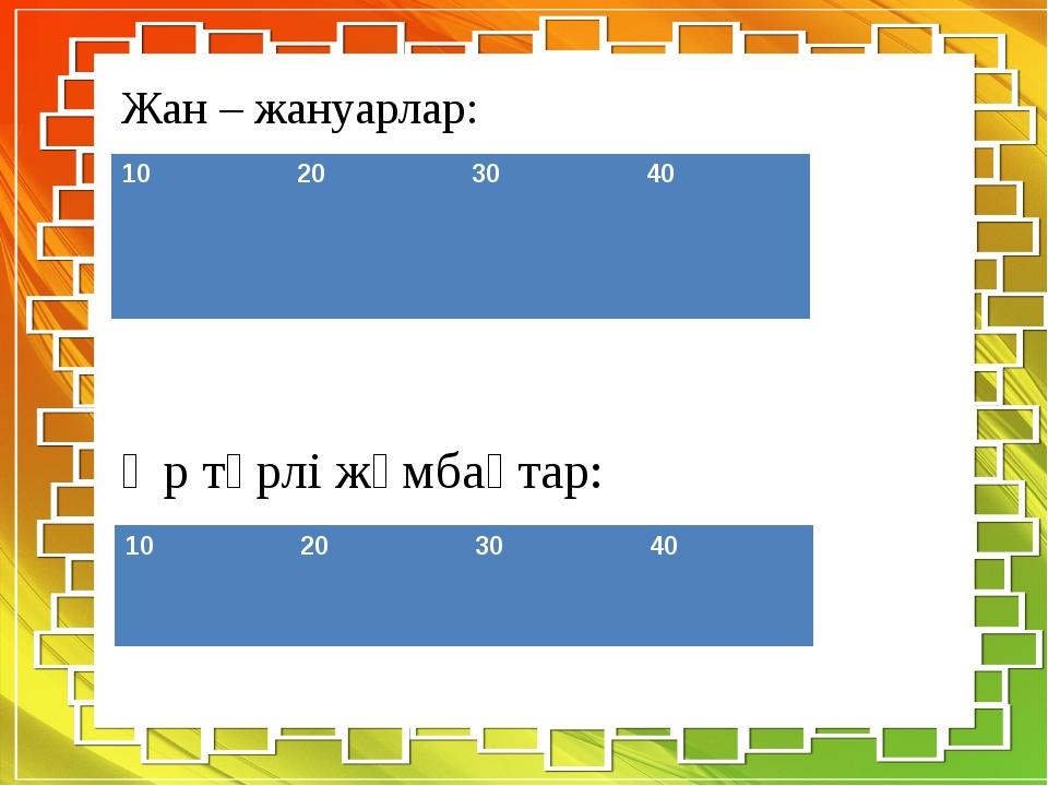 Жан – жануарлар: Әр түрлі жұмбақтар: 10 20 30 40 10 20 30 40