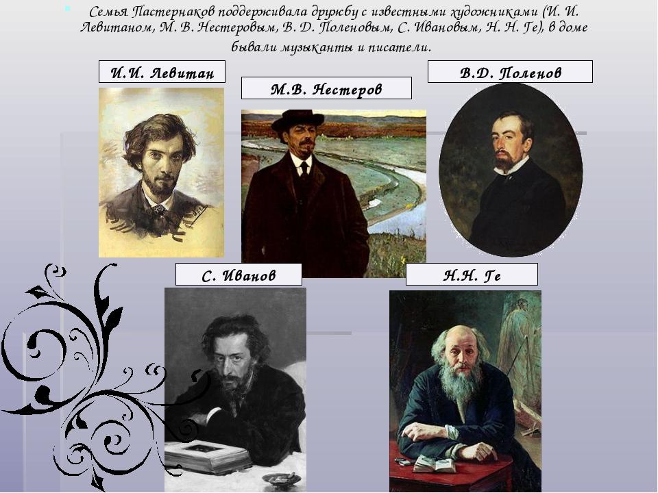 Семья Пастернаков поддерживала дружбу с известными художниками (И. И. Левитан...