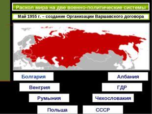 Раскол мира на две военно-политические системы Май 1955 г. – создание Органи