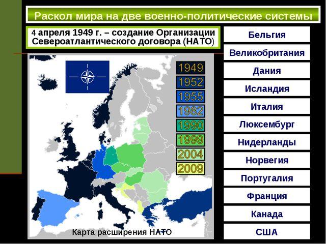 Раскол мира на две военно-политические системы 4 апреля 1949 г. – создание О...