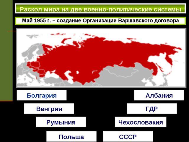 Раскол мира на две военно-политические системы Май 1955 г. – создание Органи...
