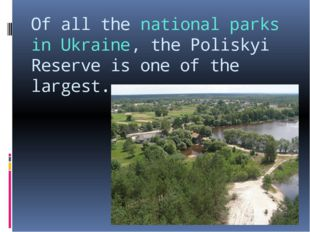 Of all the national parks in Ukraine, the Poliskyi Reserve is one of the larg
