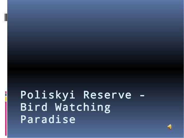 Poliskyi Reserve - Bird Watching Paradise