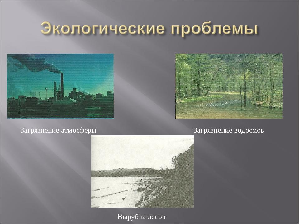 Загрязнение атмосферы Загрязнение водоемов Вырубка лесов
