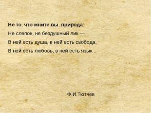 Нето,чтомнитевы,природа: Не слепок, не бездушный лик — В ней есть душа,
