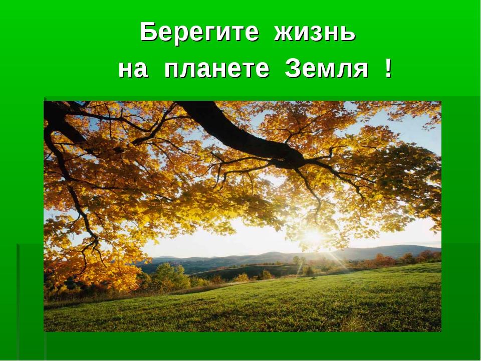 Берегите жизнь на планете Земля !