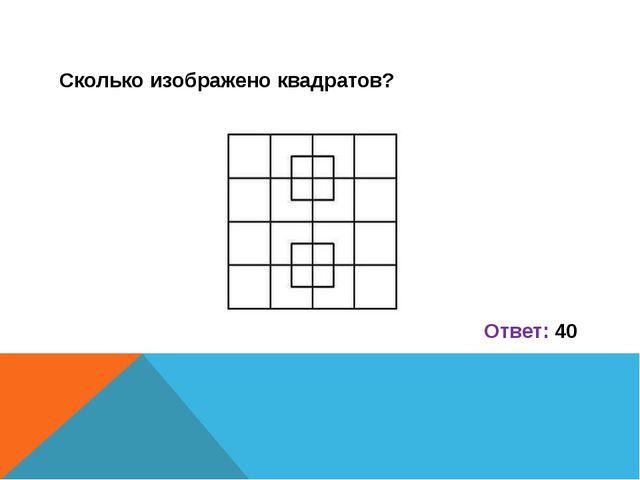 Сколько изображено квадратов?  Ответ: 40