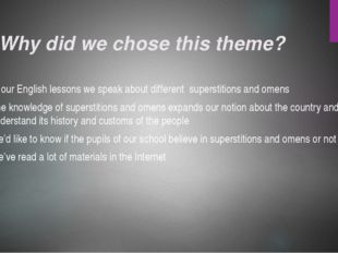 Why did we chose this theme? 1. At our English lessons we speak about differe