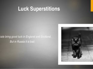 Luck Superstitions Black cats bring good luck in England and Scotland. But in