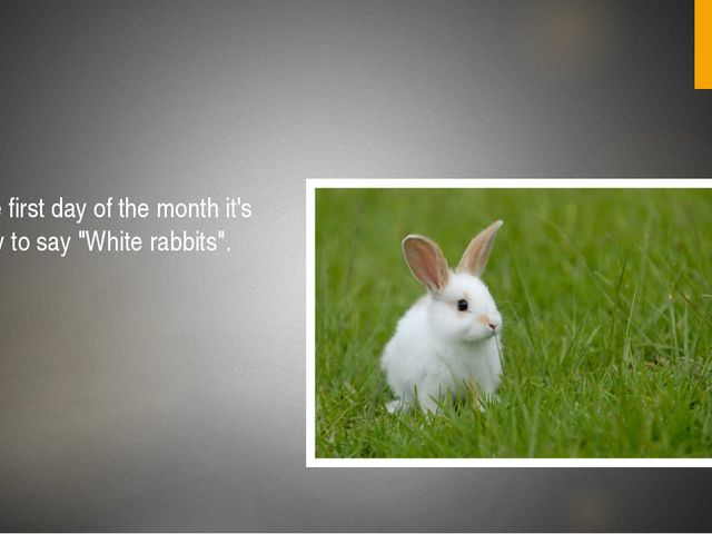 "On the first day of the month it's lucky to say ""White rabbits""."