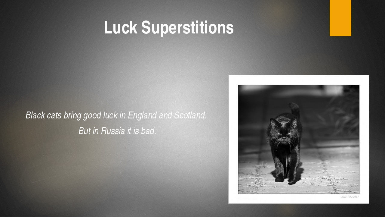 Luck Superstitions Black cats bring good luck in England and Scotland. But in...
