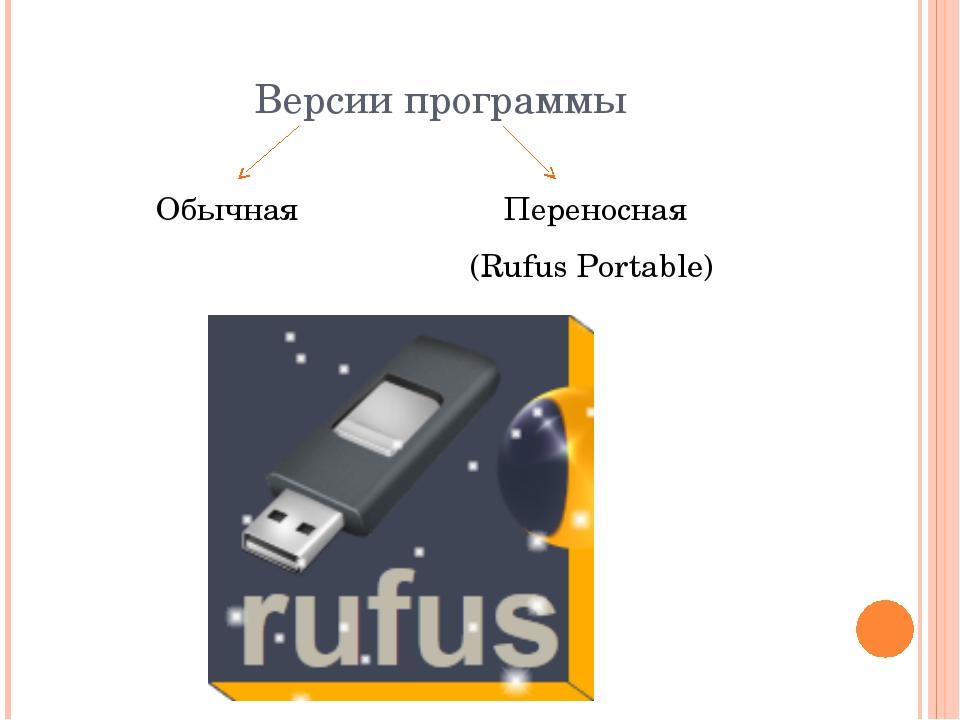 Версии программы Обычная Переносная (Rufus Portable)