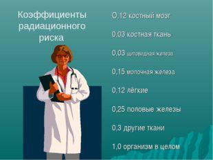 Коэффициенты радиационного риска О,12 костный мозг 0,03 костная ткань 0,03 щи