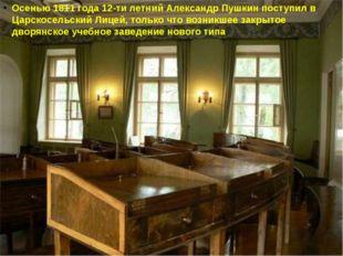 Осенью 1811 года 12-ти летний Александр Пушкин поступил в Царскосельский Лице