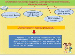 Экономическая функция Информационная функция Эстетическая функция Коммуникати