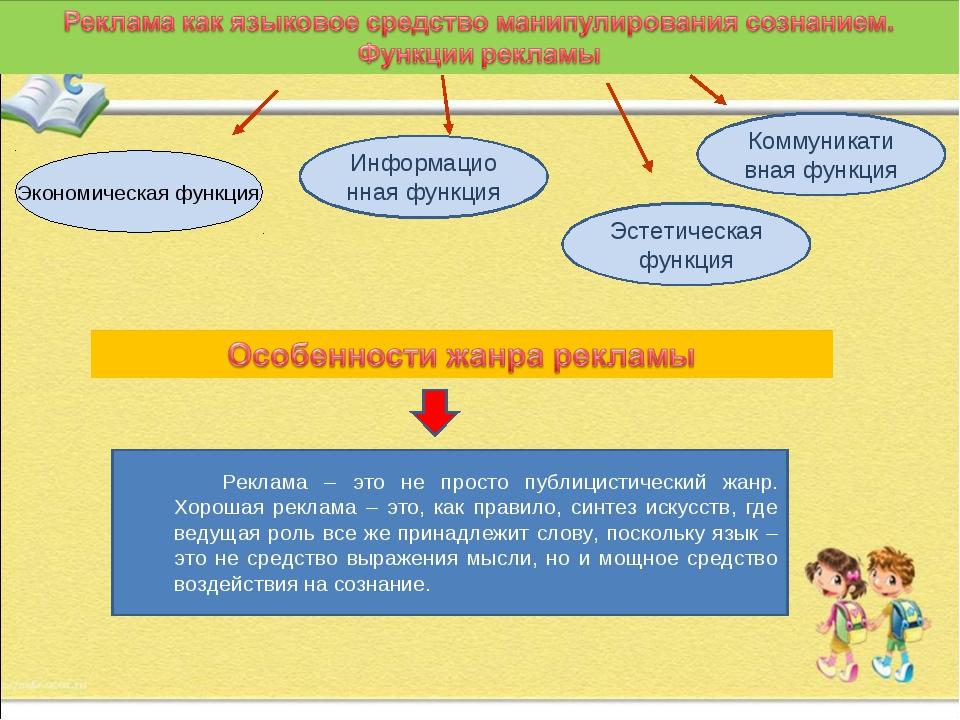 Экономическая функция Информационная функция Эстетическая функция Коммуникати...