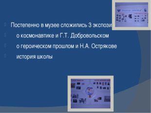 Постепенно в музее сложились 3 экспозиции: о космонавтике и Г.Т. Добровольско