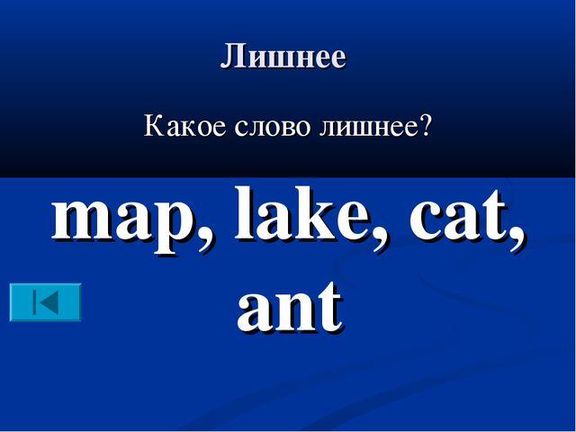 Лишнее Какое слово лишнее? map, lake, cat, ant