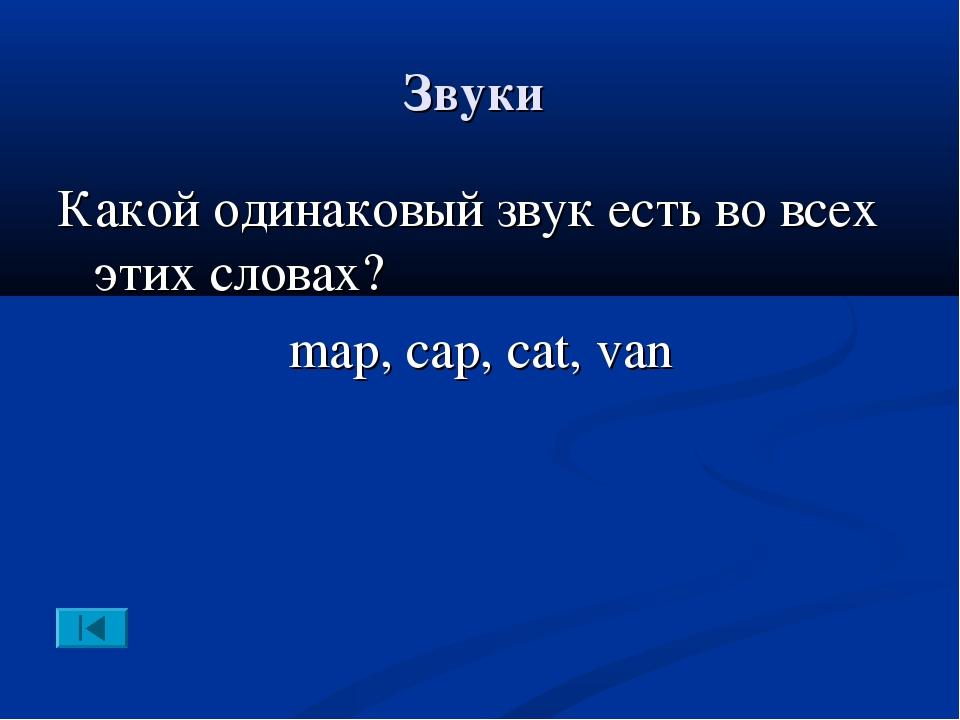 Звуки Какой одинаковый звук есть во всех этих словах? map, cap, cat, van