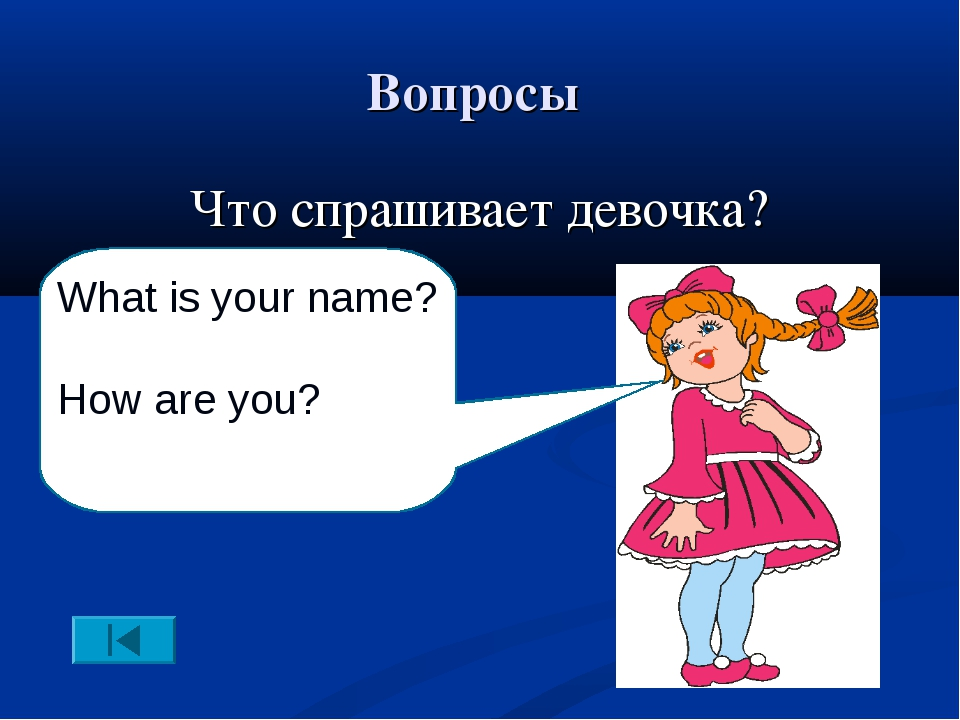 Вопросы Что спрашивает девочка? What is your name? How are you?