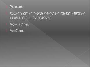 Решение: Хср.=1*2+2*1+4*4+5*3+7*4+10*2+11*3+12*1+16*2/2+1+4+3+4+2+3+1+2=160/