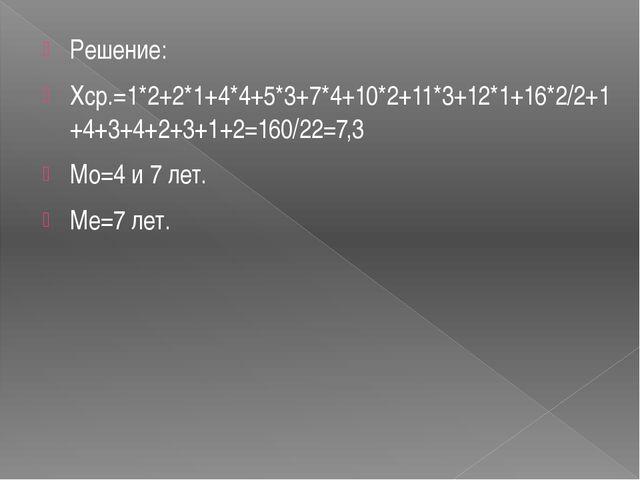 Решение: Хср.=1*2+2*1+4*4+5*3+7*4+10*2+11*3+12*1+16*2/2+1+4+3+4+2+3+1+2=160/...