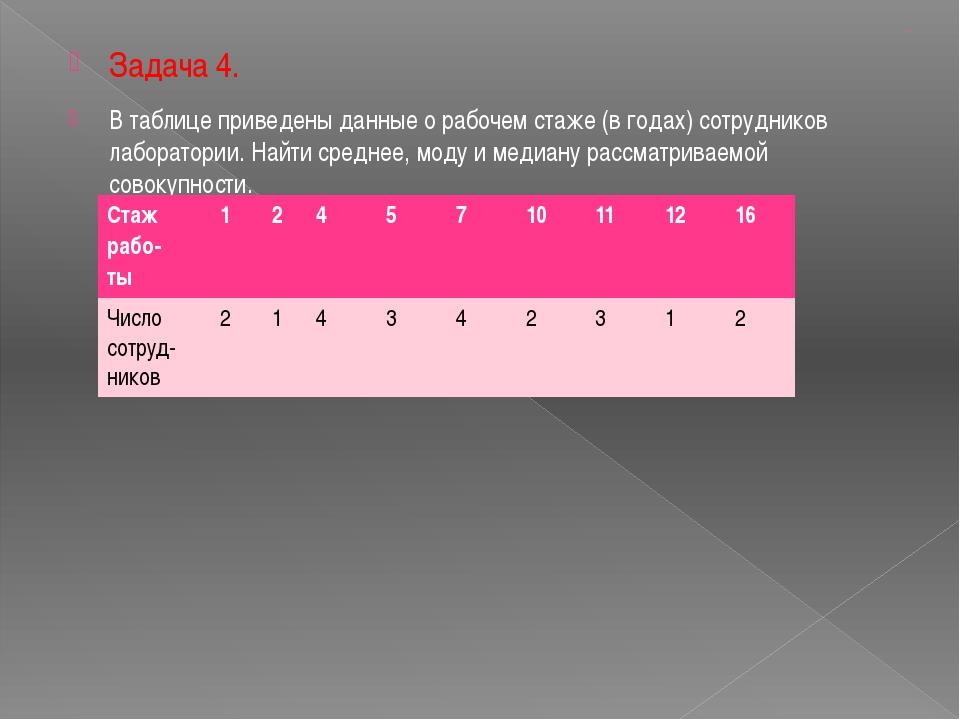 цаца Задача 4. В таблице приведены данные о рабочем стаже (в годах) сотрудник...