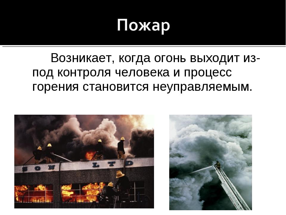 Возникает, когда огонь выходит из-под контроля человека и процесс горения ст...
