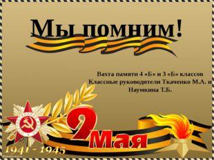Вахта памяти 4 «Б» и 3 «Б» классов Классные руководители Ткаченко М.А. и Наум