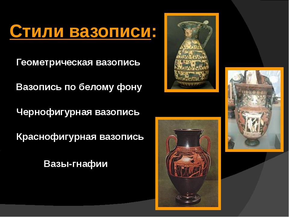 Стили вазописи: Вазопись по белому фону Геометрическая вазопись Чернофигурная...