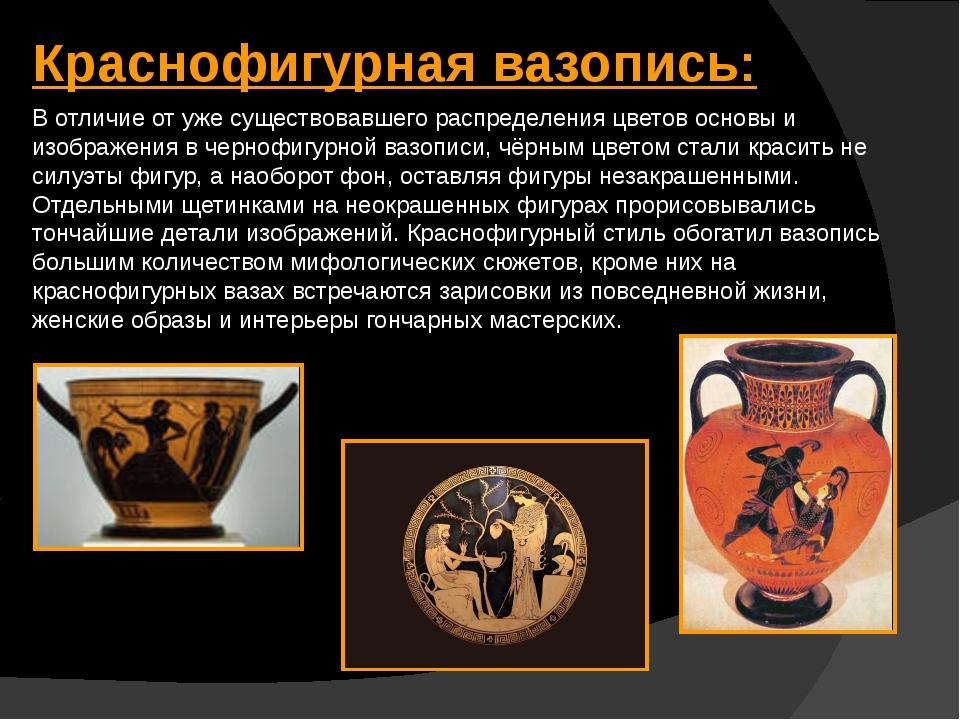 Краснофигурная вазопись: В отличие от уже существовавшего распределения цвето...