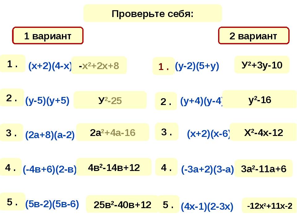 1 вариант 2 вариант Проверьте себя: -х2+2х+8 У2-25 2а2+4а-16 4в2-14в+12 25в2-...
