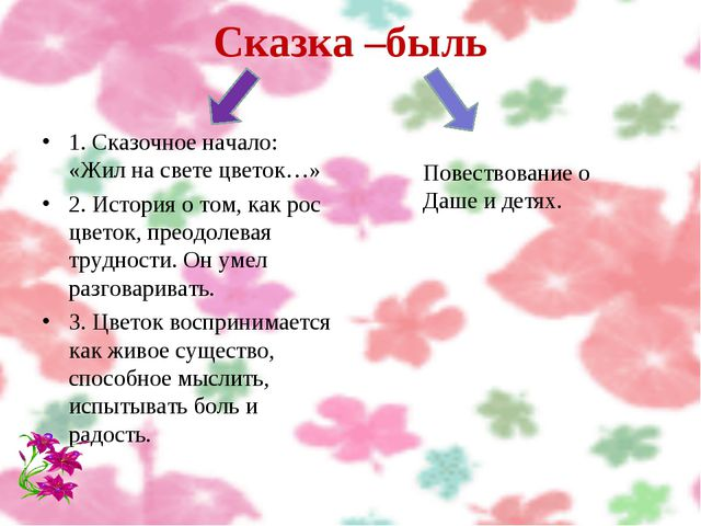 Сказка –быль 1. Сказочное начало: «Жил на свете цветок…» 2. История о том, ка...
