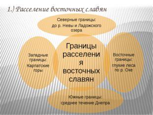 1.) Расселение восточных славян