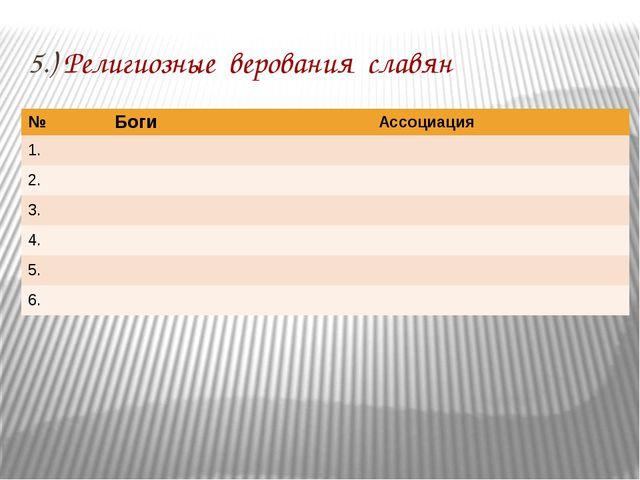 5.) Религиозные верования славян № Боги Ассоциация 1. 2. 3. 4. 5. 6.