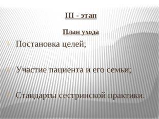 III - этап План ухода Постановка целей; Участие пациента и его семьи; Стандар
