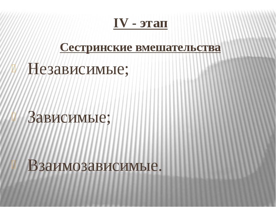 IV - этап Сестринские вмешательства Независимые; Зависимые; Взаимозависимые.