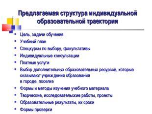 Предлагаемая структура индивидуальной образовательной траектории Цель, задачи