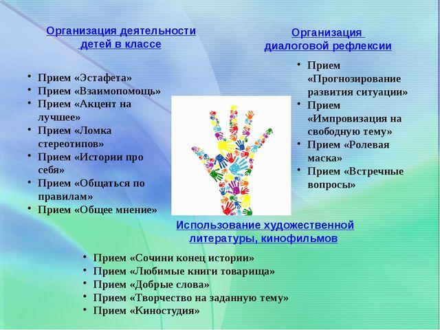 Организация деятельности детей в классе Прием «Эстафета» Прием «Взаимопомощь»...