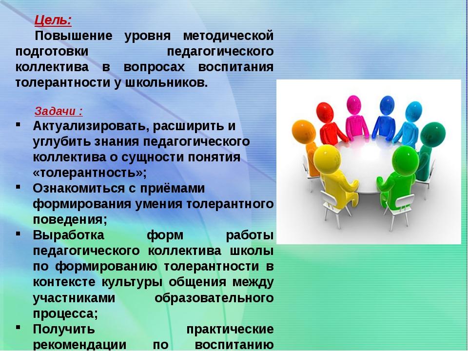 Цель: Повышение уровня методической подготовки педагогического коллектива в в...