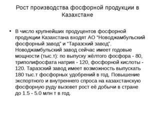 Рост производства фосфорной продукции в Казахстане В число крупнейших продуце